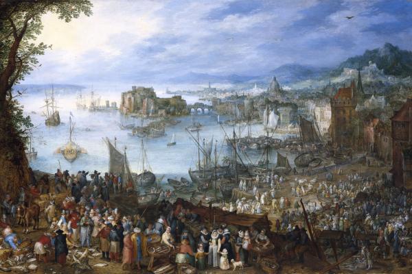 great fish market jan brueghel 1603 wikimedia